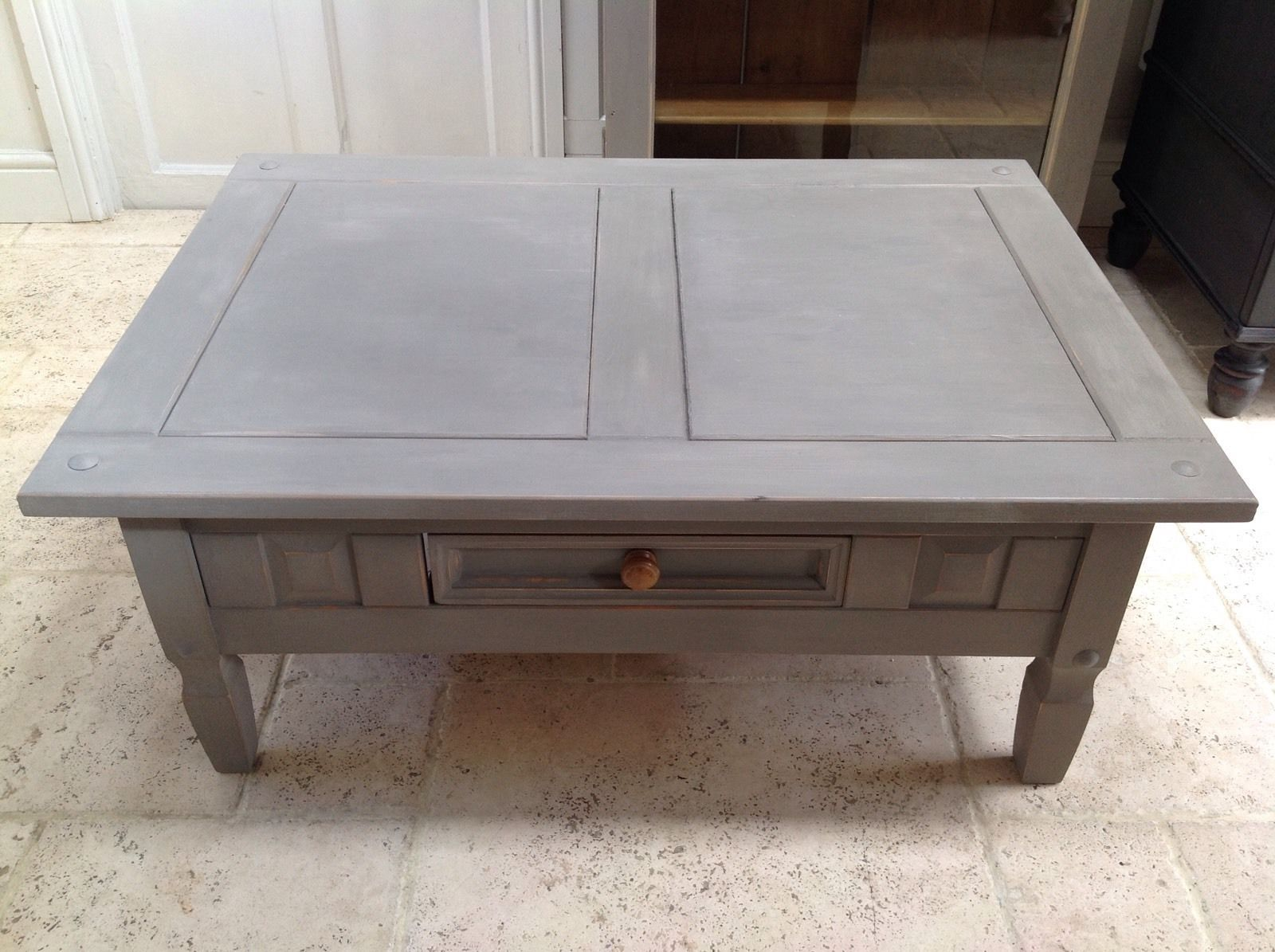 hand painted pine coffee table  annie sloan french linen rectangular - grey hand painted pine coffee table  annie sloan french linen rectangular